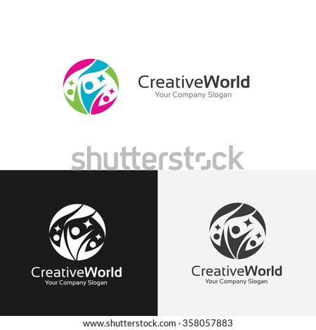 Creative World logo,family logo,world logo,people logo,vector logo template - stock vector