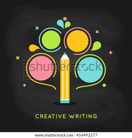 Creative Writing and Education Infographics Flat Vector Template  - stock vector