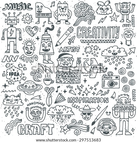 Creativity Activities Funny Doodle Cartoon Set 2. Arts and Crafts. Vector Hand Drawn Illustration Pattern. - stock vector