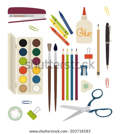 Creativity and drawing items | Stationery | Artistic items set - stock vector