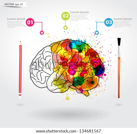 Creativity brain, Vector illustration template design - stock vector