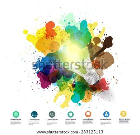Creativity concept, Creative light bulb idea with watercolor splatter, Vector illustration modern design template - stock vector