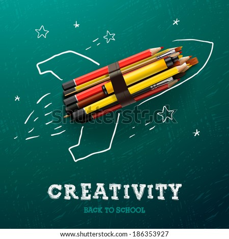Creativity learning. Rocket ship launch made with pencils - sketch on the blackboard, vector image.  - stock vector