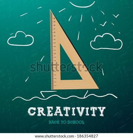 Creativity learning. Sailing ship made with wooden triangle  - sketch on the blackboard, vector image.  - stock vector