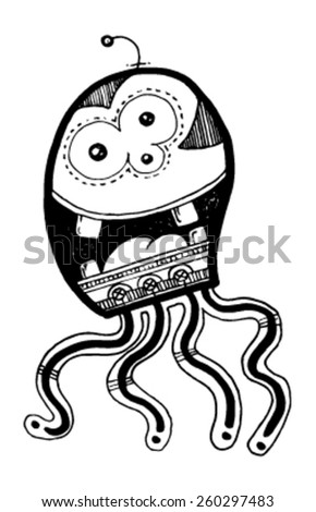 CREATURE people funny caricature graphic simple figure cartoon octopus three eyes big mouth tongue - stock vector