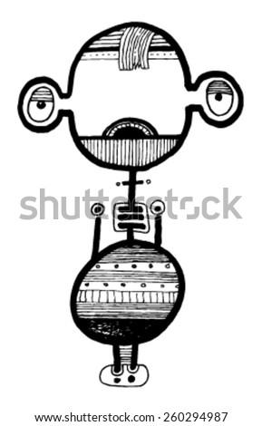 CREATURE people funny caricature graphic simple figure cartoon strange alien big eyes hair cool guy - stock vector