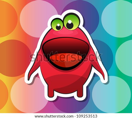 Creature, Red Monster with Big Mouth Green Eyes, vector illustration - stock vector