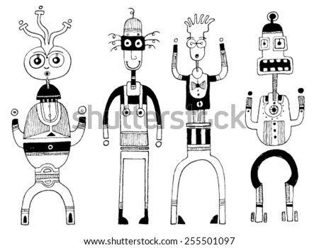 CREATURES people funny caricatures graphic simple figures cartoon big mouth big eyes smile teeth surprise - stock vector