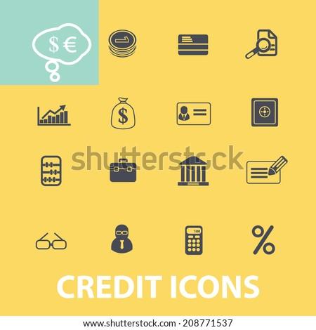 credit, bank, money black flat icons, signs, symbols set, vector - stock vector