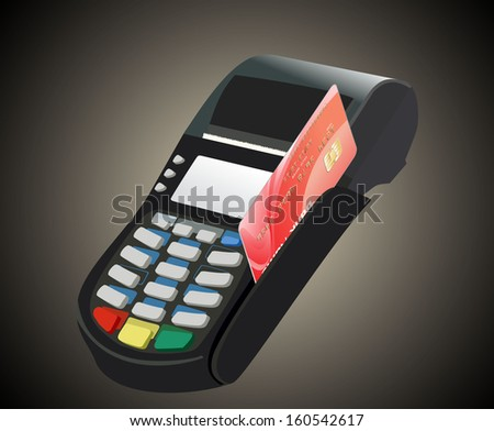 Credit card and card reader  - stock vector