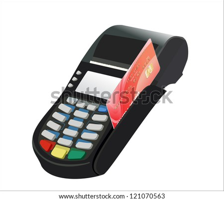 Credit card and card reader on white background - stock vector
