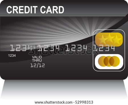 Credit Card Black Gold - stock vector