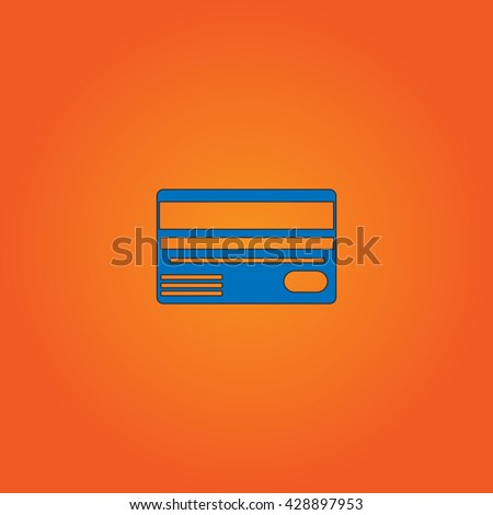 Credit card. Blue flat icon with black stroke on orange background. Collection concept vector pictogram for infographic project and logo - stock vector