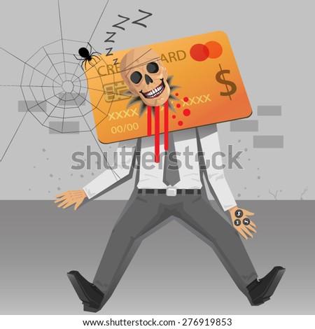 credit card businessman failed, vector - stock vector