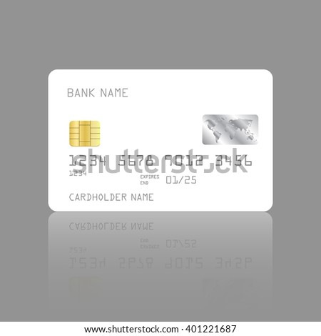 Credit card design template with soft shadows and highlights isolated on gray background. Vector design EPS10 - stock vector