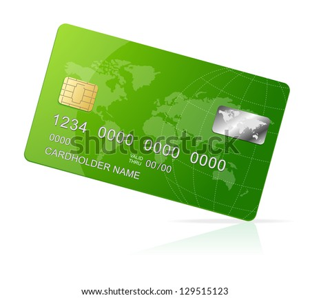 Credit Card green icon Isolated on white - stock vector