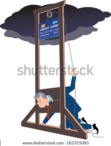 Credit card guillotine. Depressed man lying in a guillotine and releasing a blade in a form of giant credit card - stock vector