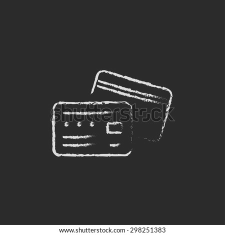 Credit card hand drawn in chalk on a blackboard vector white icon on a black background - stock vector