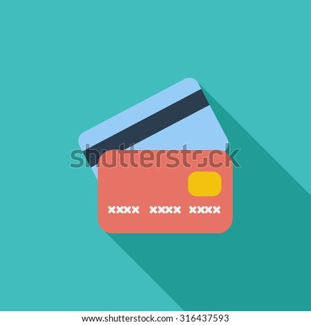 Credit card icon. Flat vector related icon with long shadow for web and mobile applications. It can be used as - logo, pictogram, icon, infographic element. Vector Illustration. - stock vector