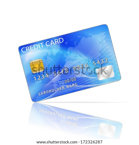 Credit Card Icon Isolated on White - stock vector