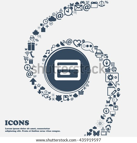 credit card icon sign in the center. Around the many beautiful symbols twisted in a spiral. You can use each separately for your design. Vector illustration - stock vector