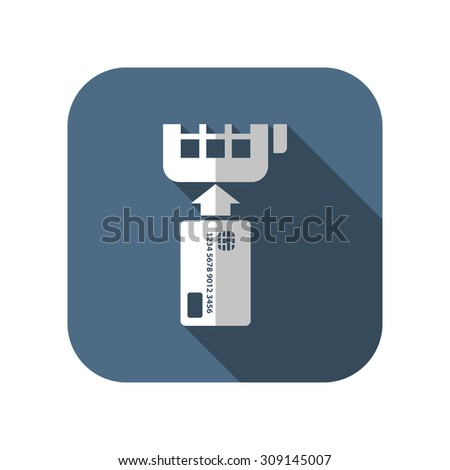 Credit card payment, chip reading - stock vector