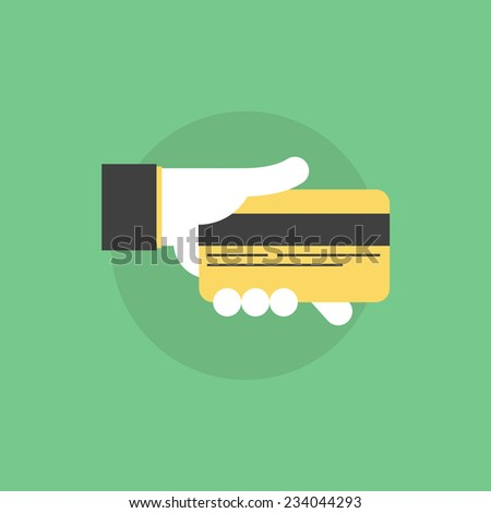 Credit card payment process, hand holding credit card for banking information or for money withdraw. Flat icon modern design style vector illustration concept. - stock vector