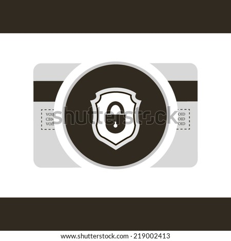 Credit card protection poster on grey style concept illustration - stock vector