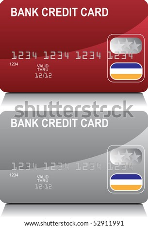 Credit Card Red Silver - stock vector