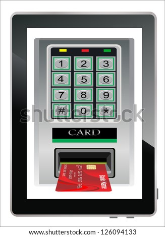 Credit card scanning terminal coming from tablet PC screen / Internet credit card - stock vector