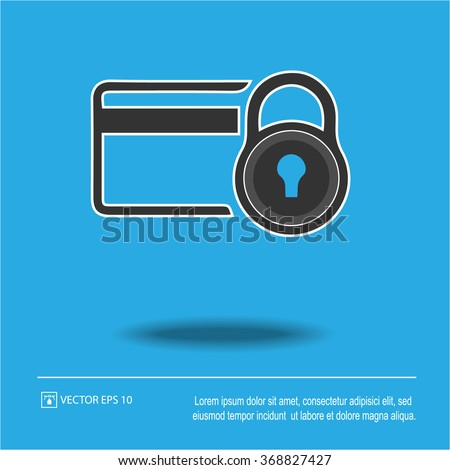 Credit card security icon on blue background. Credit card and lock symbol. Isolated vector illustration EPS 10. - stock vector