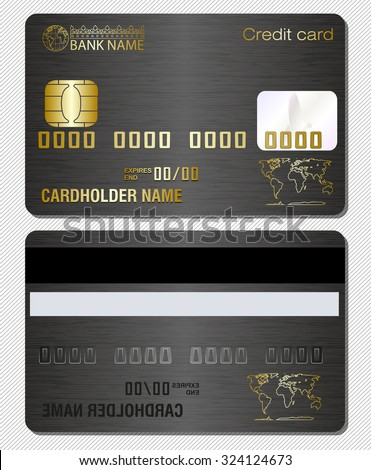 Credit card template with metal texture - stock vector