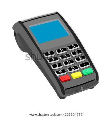 Credit card terminal - stock vector
