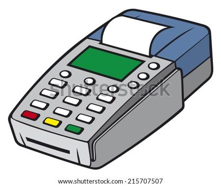 credit card terminal (POS terminal, payment machine, credit card machine) - stock vector
