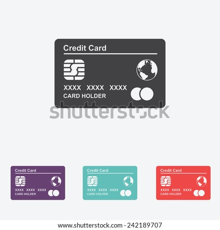 Credit Card vector Icon. - stock vector