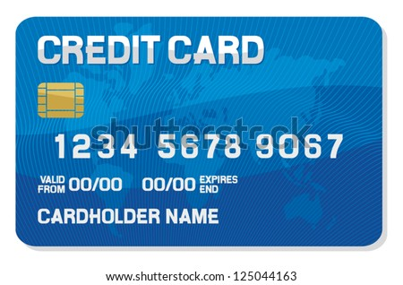 credit card with a smart chip  - stock vector