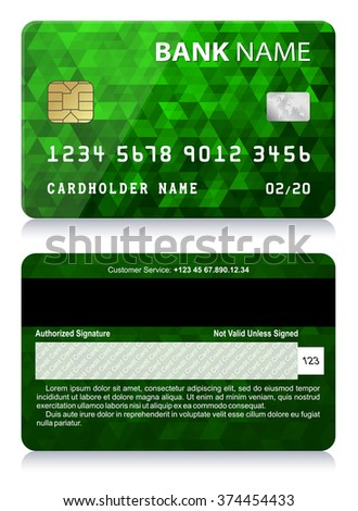 Credit Card with Abstract Polygon Pattern Vector illustration of green credit card isolated on white background - stock vector