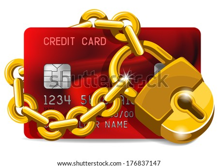 Credit card with golden padlock. Concept of protection. - stock vector