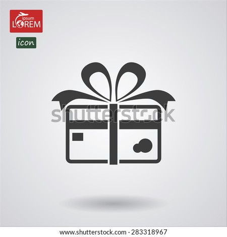 Credit card with ribbon as a gift icon. Vector  Eps 10  - stock vector