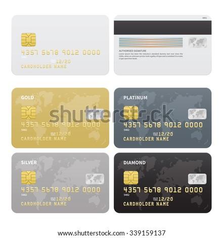 Credit cards vector set, Gold, Silver, Platinum, Diamond colors. Vector illustration. - stock vector