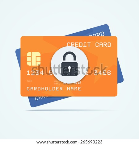 Credit cards with padlock for a security payment. Vector illustration. - stock vector