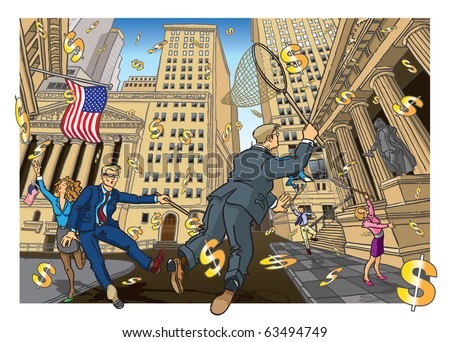 Credit Crunch - USA Vector illustration of business people rushing to save US dollars on Wall Street, as they float away. Fully editable layers included. - stock vector