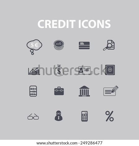credit, online banking icons, signs, illustrations set, vector - stock vector