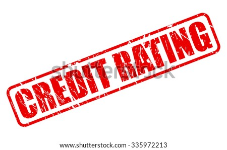 CREDIT RATING red stamp text on white - stock vector