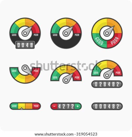 Credit Score Gauge. Indicators and gauges. Manometer (pressure gauge)  icons. Vector illustration. - stock vector
