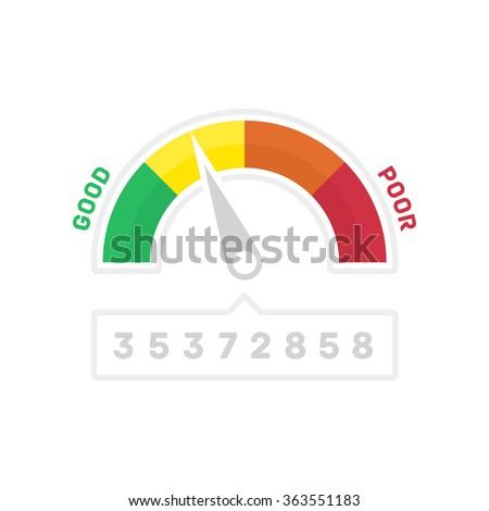 Credit Score Gauge. Vector illustrations manometer on white background. Vector EPS 10. - stock vector