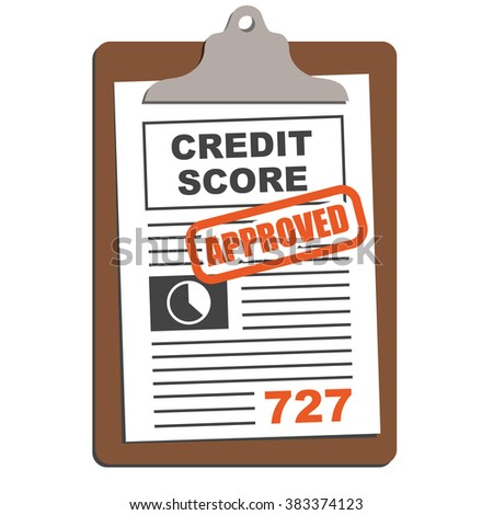 Credit Score Sheet on Clipboard with Red Stamp Approved or Denied Text  - stock vector