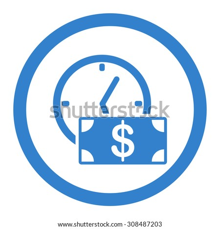 Credit vector icon. This flat rounded symbol uses cobalt color and isolated on a white background. - stock vector