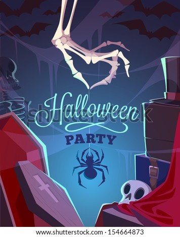 Creepy skeleton hand. Halloween card\poster. Vector illustration. - stock vector