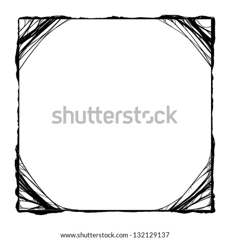 creepy slime halloween border. black and white detailed vector illustration - stock vector